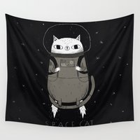 cats Wall Tapestries featuring space cat by Louis Roskosch