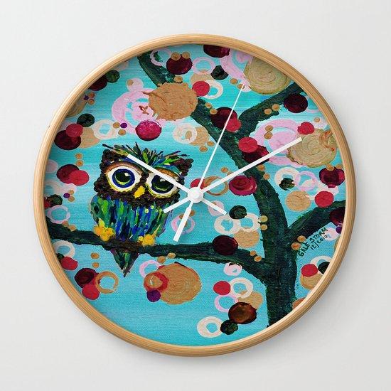 :: Gemmy Owl Loves Jewel Trees :: Wall Clock