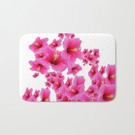 MODERN ART TROPICAL FUCHSIA HIBISCUS  FLOWERS Bath Mat