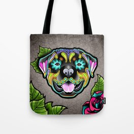 Rottweiler - Day of the Dead Sugar Skull Dog Tote Bag