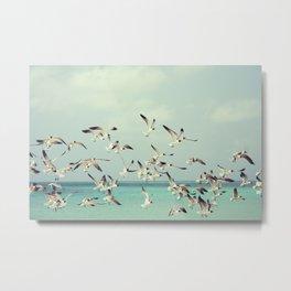 Flock of Seagulls and the Ocean Metal Print