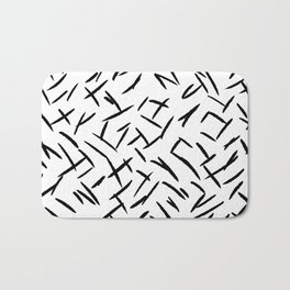Modern abstract black hand painted brushstrokes Bath Mat
