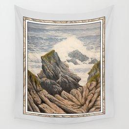 SOFT RAINY SEASCAPE MENDOCINO COAST OIL PAINTING Wall Tapestry