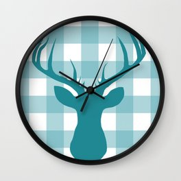 Whimsical Christmas // Blue Buffalo Deer Wall Clock
