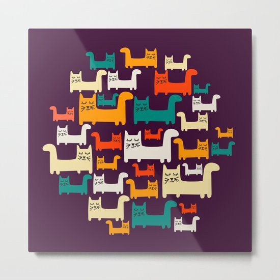 City Of Kitties Pattern Metal Print
