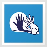 hand shadow rabbit Art Print