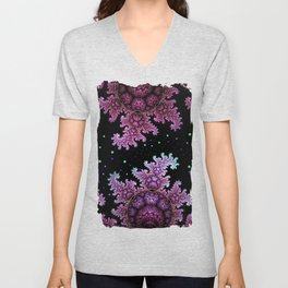 Magical fantasy patterns in purple, pink and green Unisex V-Neck