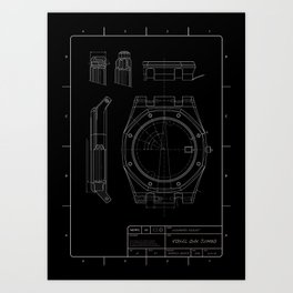 Audemars Piguet Royal Oak blueprint Art Print