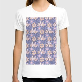 Modern abstract lavender ivory pink floral illustration T-shirt