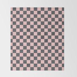 Gingham Millennial Pink Blush Rose Quartz Coco Brown Neapolitan Checked Throw Blanket