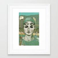 swim Framed Art Prints featuring SWIM by Camila Fernandez
