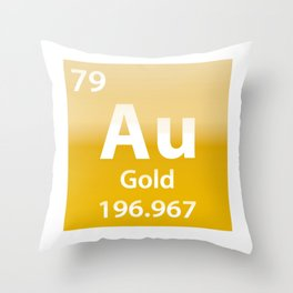 Gold Au chemical element Throw Pillow