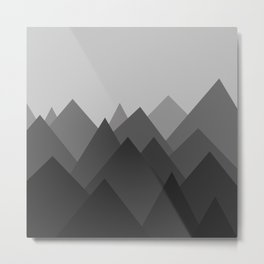 Black and White Abstract Mountains Metal Print