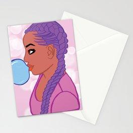black woman bubble gum pop art Stationery Cards