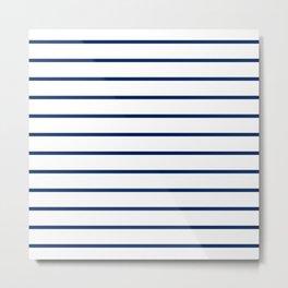 Navy and White Breton Stripes Metal Print