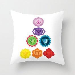 Seven Chakras Throw Pillow