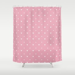 Small sketchy white hearts pattern on pink background Shower Curtain