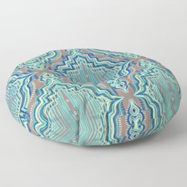 Marker Moroccan in Aqua, Cobalt Blue, Taupe & Teal Floor Pillow