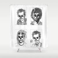shaun of the dead Shower Curtains featuring DEAD by Wellington Sun
