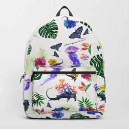 tropical shark pattern Backpack