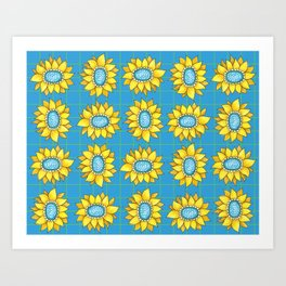 Yellow and Turquoise Flowers Art Print