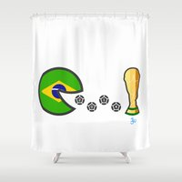 world cup Shower Curtains featuring Brazil World Cup 2014 by onejyoo