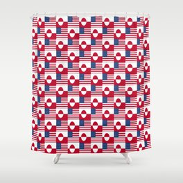 Mix of flag : Usa and greenland Shower Curtain