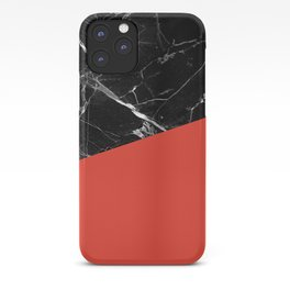 Black Marble with Cherry Tomato Color iPhone Case