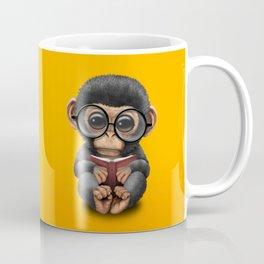 Cute Baby Chimp Reading a Book on Yellow Coffee Mug