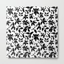 Abstract honeysuckle in black and white Metal Print