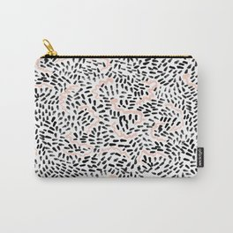 Helena - black white rose quartz abstract squiggle dot mark making painting brushstrokes minimal  Carry-All Pouch