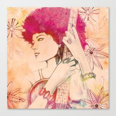 Afro musician girl face african girl Canvas Print
