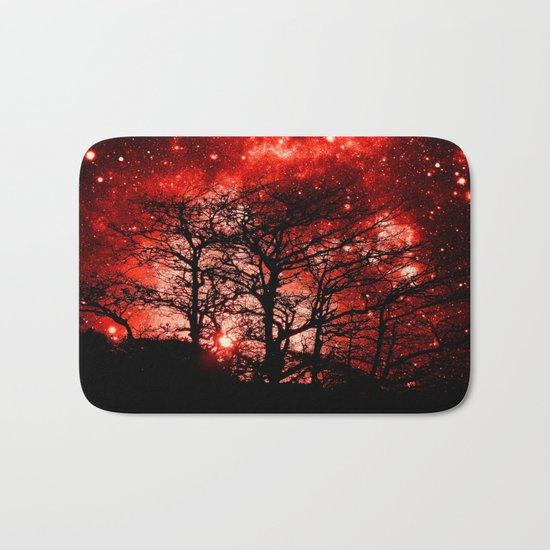 black trees red space Bath Mat