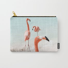 Elegant Pink Flamingo Photo Art Print | Beach Aruba Island Caribbean | Tropical Travel Photography Carry-All Pouch