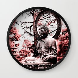 Scarlet Buddha in San Francisco, The Japanese Tea Garden, by Karen Images Wall Clock