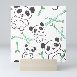 Cute Pandas and bamboos watercolor Mini Art Print