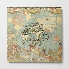 Book Traveler Vintage Map v3 Metal Print