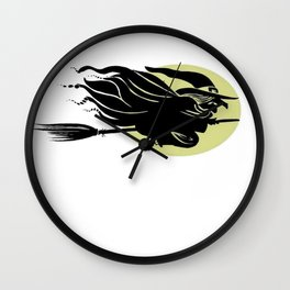 Flying Witch On Broomstick With A Big Moon Wall Clock