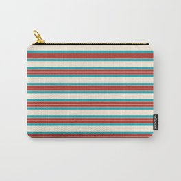 30s Stripes - Classic Retro Fine Stripe Pattern in Turquoise, Red, and Cream Carry-All Pouch