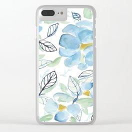 Blue flower garden watercolor Clear iPhone Case