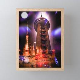 Full moon - Moments Shanghai Oriental Pearl Tower Framed Mini Art Print