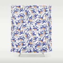 Japanese peonies pattern - blue and orange Shower Curtain