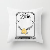 the legend of zelda Throw Pillows featuring Zelda legend - Navi by Art & Be