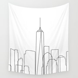 New York City Skyline Outline Wall Tapestry