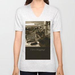 Black cat and vintage typewriter  Unisex V-Neck
