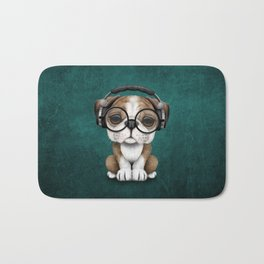 English Bulldog Puppy Dj Wearing Headphones and Glasses on Blue Bath Mat