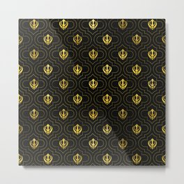 Gold Khanda symbol pattern Metal Print