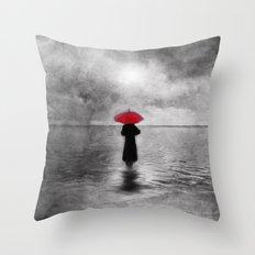 waiting in the sea II  -  by Viviana Gonzalez Throw Pillow