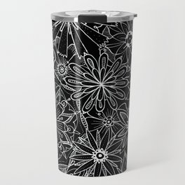 Floral Pattern Black and White Travel Mug