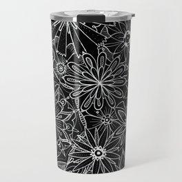 Floral Pattern Black and White Travel Mug